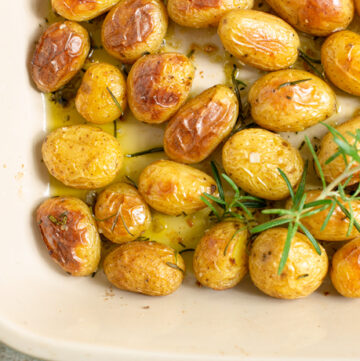 roasted potatoes in a baking dish