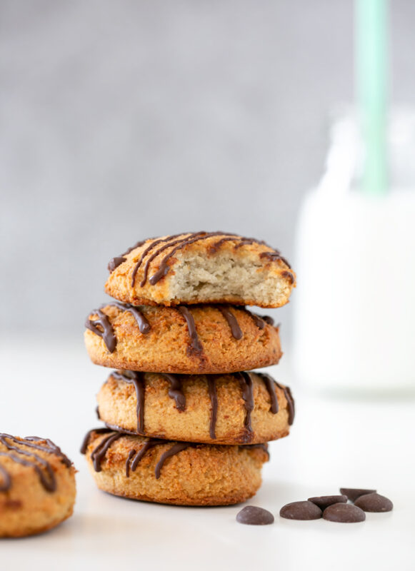2-ingredient cookies with a glass of milk on the side