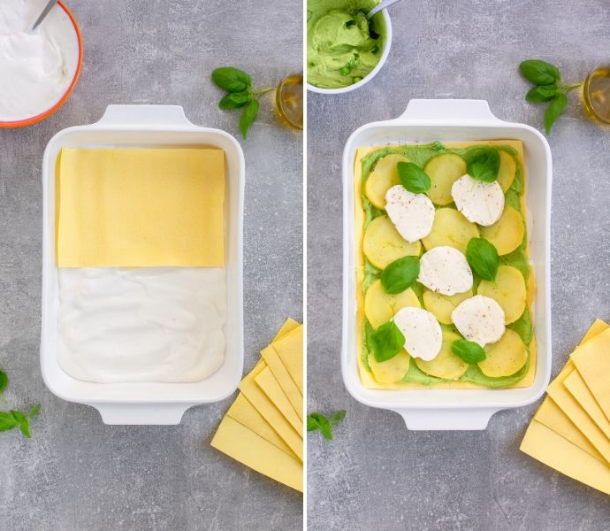 vegetarian lasagna recipe step 1: first images shows white sauce over the bottom of a baking dish topped with lasagna sheet. Second image shows a layer of pea pesto topped with sliced potatoes, mozzarella and basil leaves.