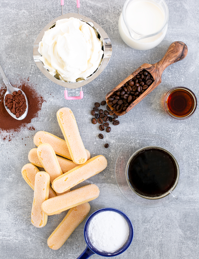 tiramisu ingredients: fresh whipping cream, marsala, espresso coffee, sugar, italian savoiardi or ladyfingers, mascarpone cheese, cocoa powder