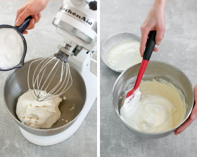 classic tiramisu step 1 collage: first image shows the mascarpone cheese in a mixer bowl, and hand adding sugar into the bowl. Second image shows hand with a spatula slowly incorporating the whipped cream into the mascarpone cream.