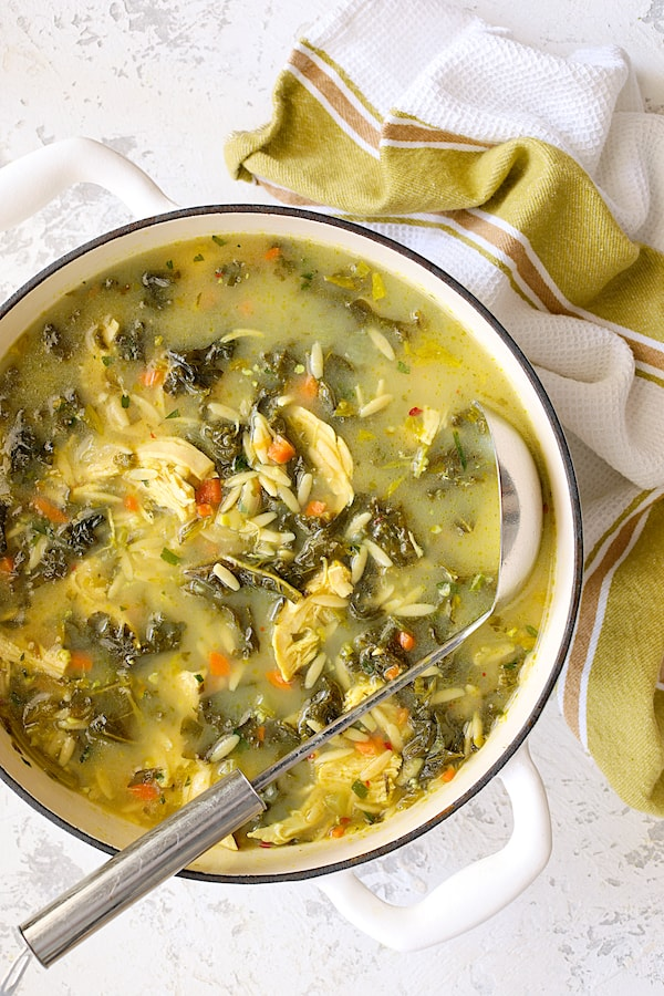 Cold-fighting chicken soup with kale and orzo