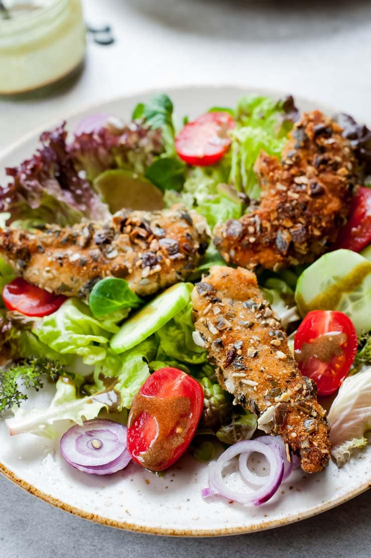 Pumpkin Seed Crusted Chicken Salad