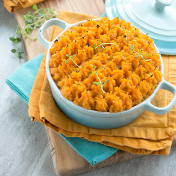 sweet potato chicken cottage pie in a serving pot.
