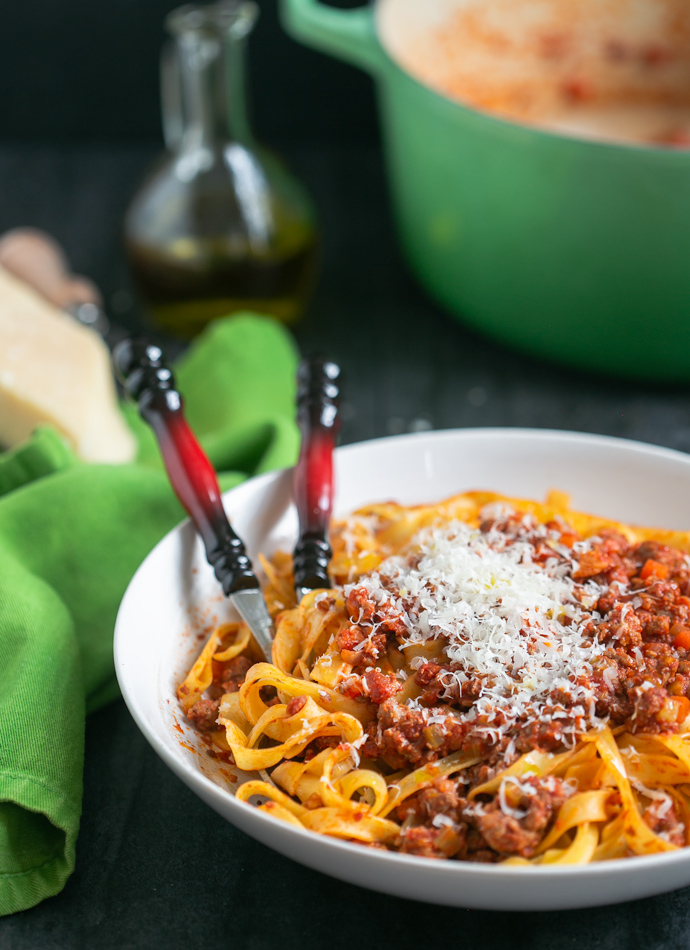 traditional bolognese sauce served with tagliatelle