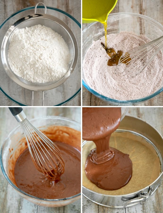 recipe step by step method collage: first image shows flour and baking powder sifted over a bowl, second image shows wet ingredients being poured into dry ones, third image shows whisk mixing the batter, fourth image shows batter poured over a cake pan covered with parchment paper