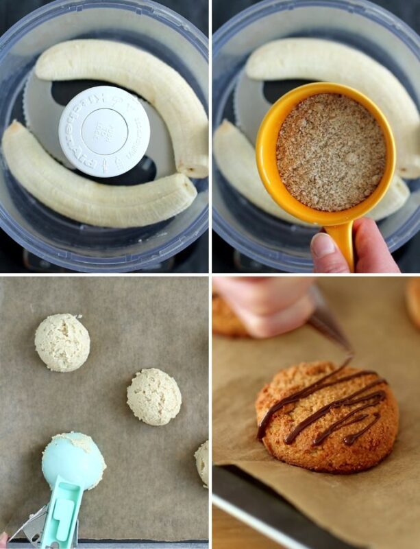 step by step recipe collage: bananas in food processor, almond flour in the food processor, ice cream scooper scooping cookie dough on a baking tray, baked cookies with chocolate drizzled on top