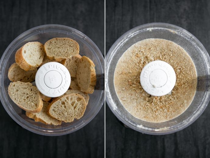 recipe step 2-3: bread slices in a food processor in first image, breadcrumbs in food processor in the second image.
