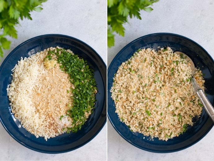 recipe steps 3-4: bowl with breadcrumbs, parmesan cheese, parsley, garlic, salt and pepper in the first image, all the ingredients mixed together in the second image.