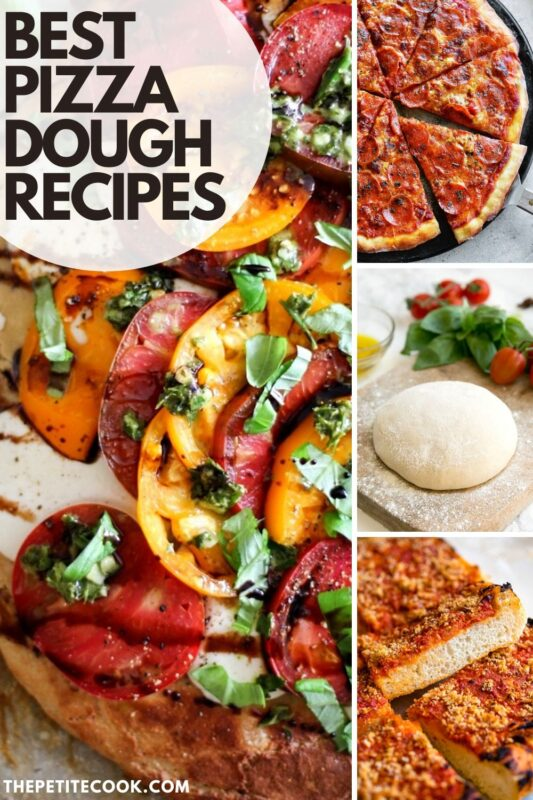collage of pizza dough images for pinterest