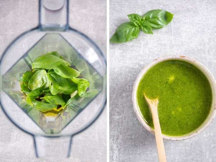 collage of two images, first shows basil garlic and olive oil in the blender, second shows prepared basil oil in a small bowl.