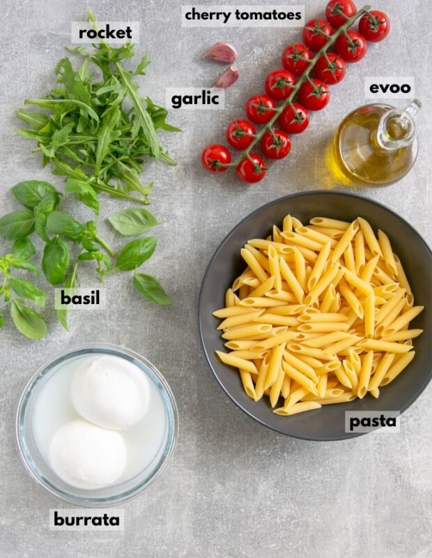 recipe ingredients: penne pasta, cherry tomatoes, olive oil, burrata cheese, rocket, basil, garlic