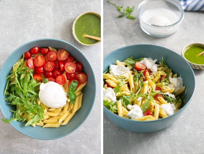 pasta salad recipe steps collage, image 1 shows a bowl with cookked pasta, tomatoes, rocket, burrata and basil leaves, image 2 shows all the ingredients mixed together, and a bowl of basil oil next to the pasta bowl.