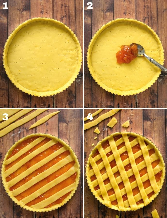 recipe step by step collage of 4 images: 1 image dough lined over a tart pan, 2 image spoon spreading jam over the base, 3 image first layer of strips over the filling, 4 image second layer of strips to form a crisscross pattern.