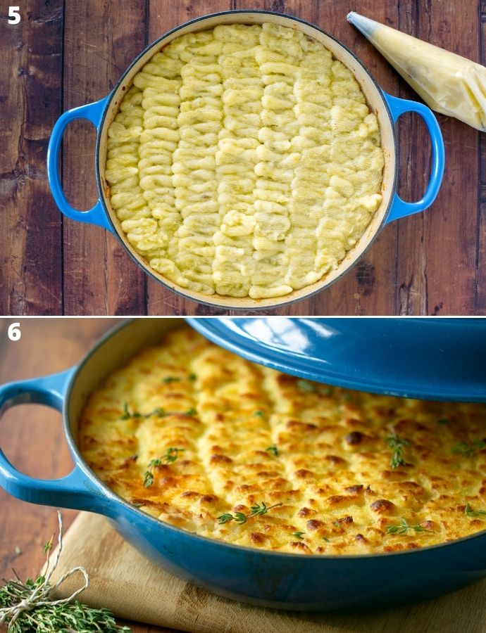 recipe step 5 and 6: first image shows skillet topped with mashed potatoes. Second image shows the baked cottage pie ready to be served.