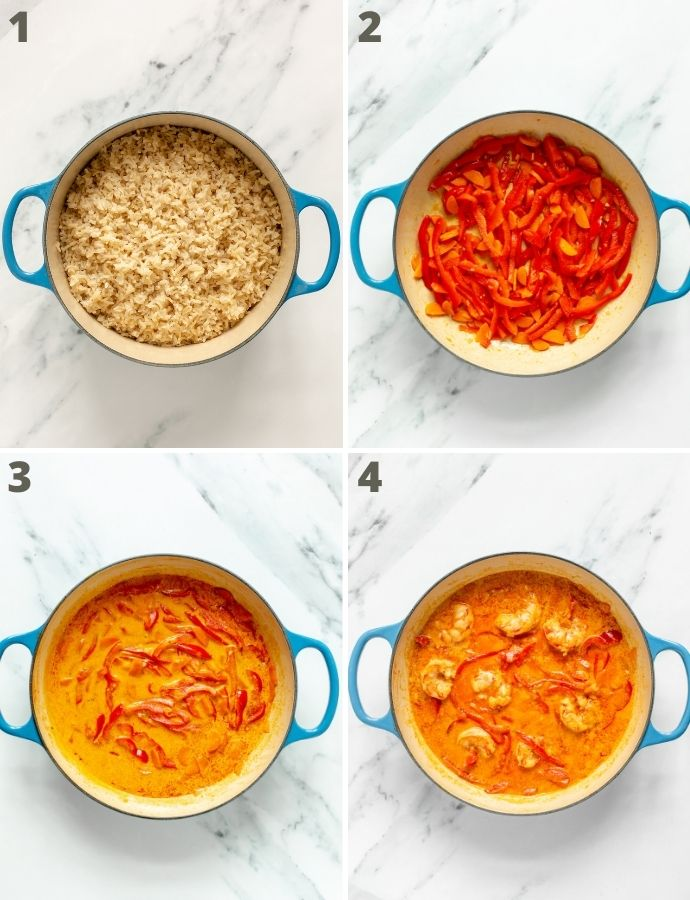 thai prawn curry recipe step by step image collage: first image shows rice being cooked in a pot. Second image shows vegetables being cooked in a large skillet. Third image shows coconut milk and stock powder added into the skillet with the veggies. Fourth image shows kind prawns added into the skillet with the previous ingredients.