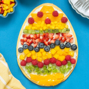 egg-shaped easter fruit tart.