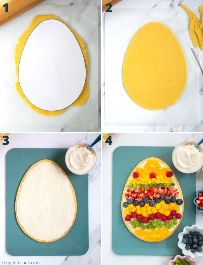 recipe method steps colalge: first image shows dough covered with egg template. Second image shows dough cut into egg shape. Third image shows cream spread over the egg tart base. Fourth image shows mixed fruit arranged over the cream frosting.