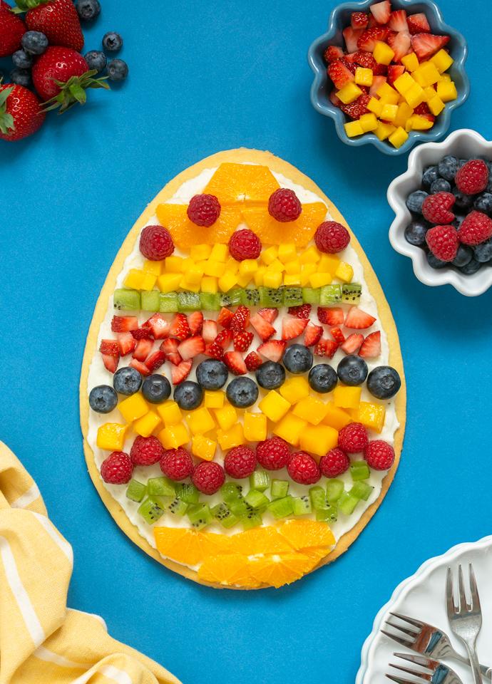 egg-shaped Easter fruit tart.