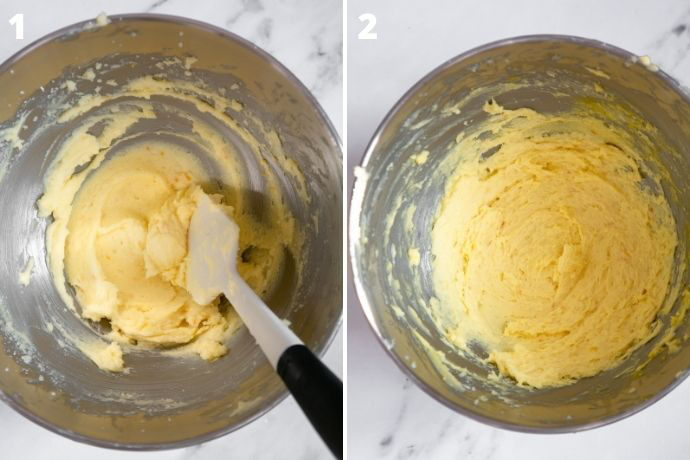 recipe steps 1 and 2 collage: 1 image shows butter and sugar whipped together. Second images shows the mixture after you add the eggs in.