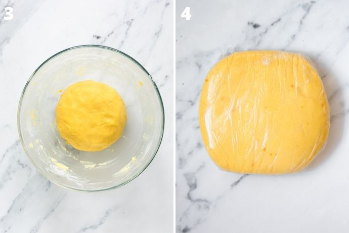 recipe step 3 and 4 collage: first image shows the dough ball in a bowl. Second image shows the dough flatten into a disk and wrapped with cling film.