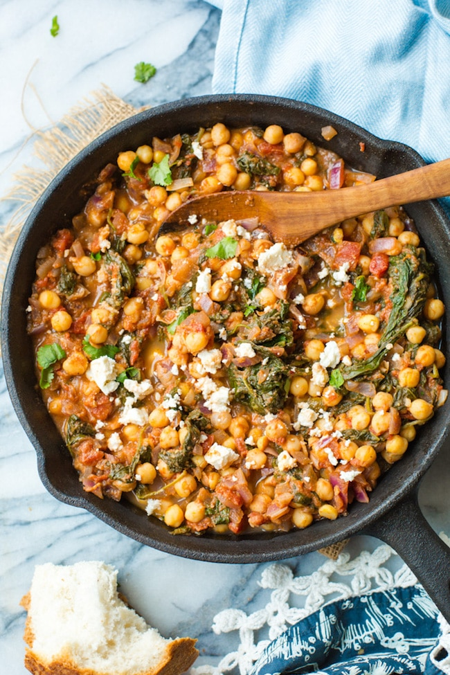 chickpea stew with spinach and feta.