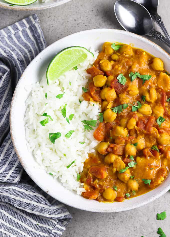 vegan chickpea curry served with rice.