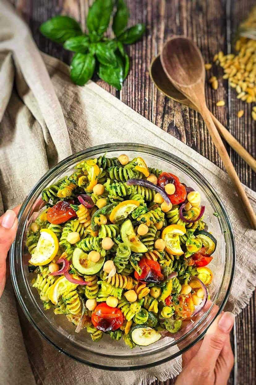 vegan pasta salad with chickpeas and roasted veggies.