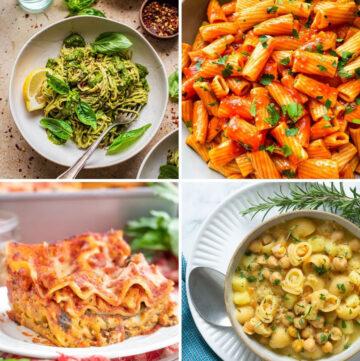 collage of 4 vegan pasta recipes: green pasta, pasta all arrabbiata, vegan lasagna, pasta and chickpeas.