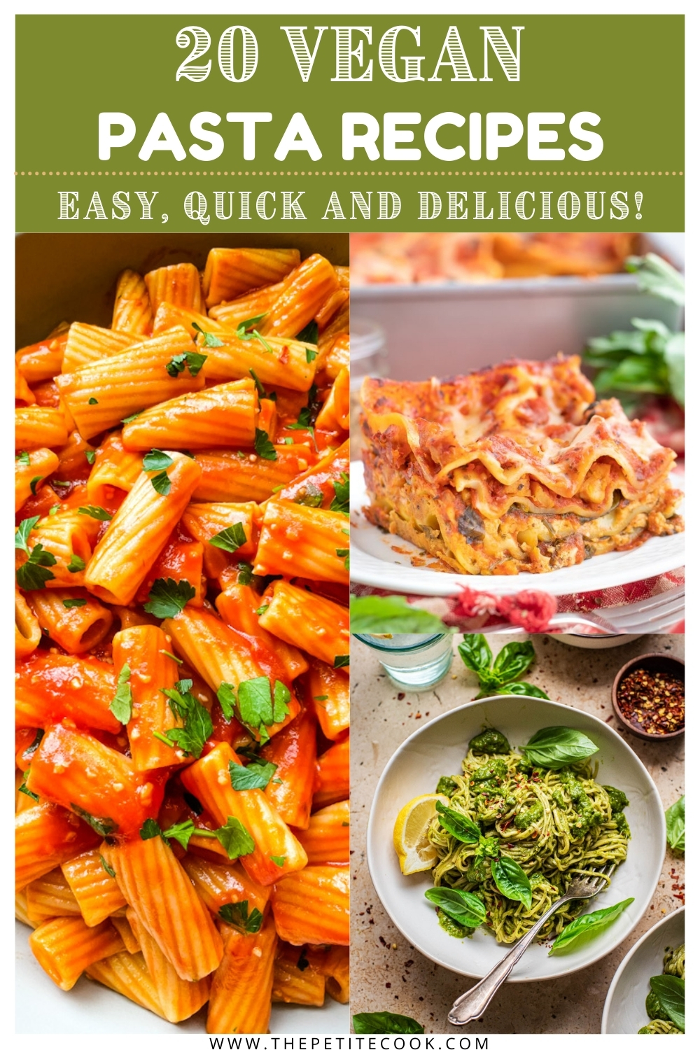 collage of vegan pasta images made for Pinterest.