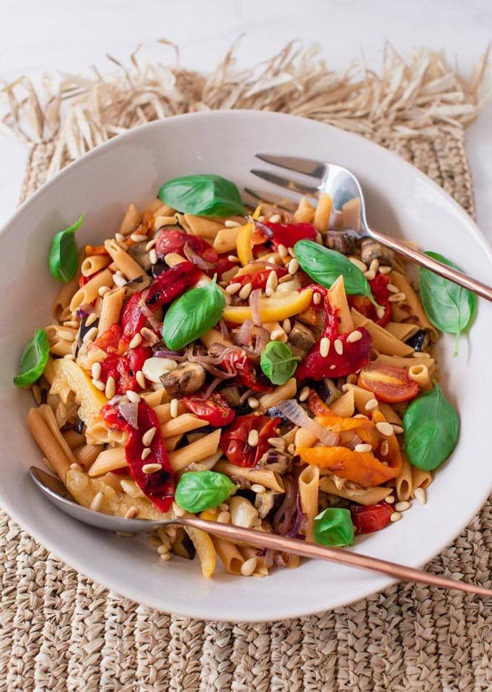 roasted veggies pasta salad.