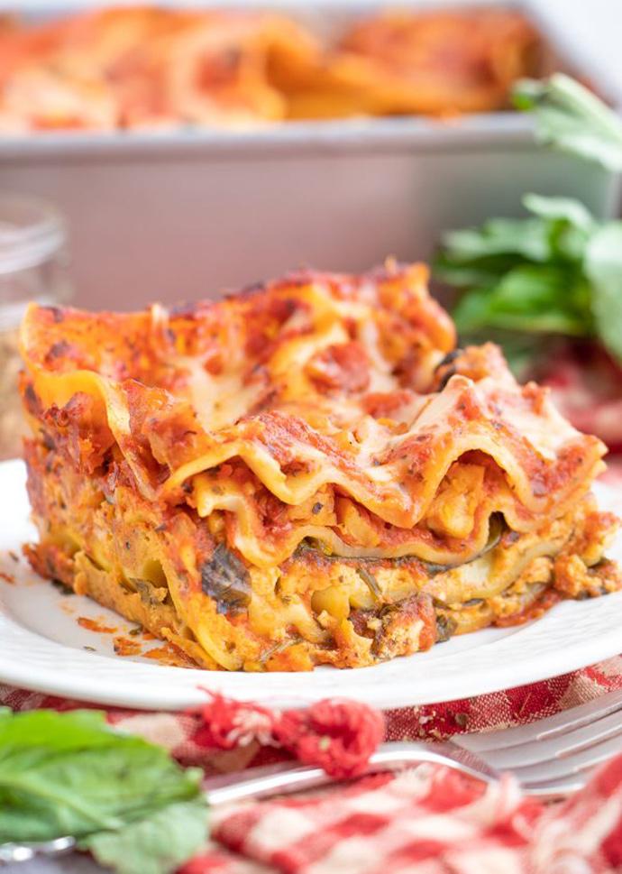 vegan lasagna on a plate.
