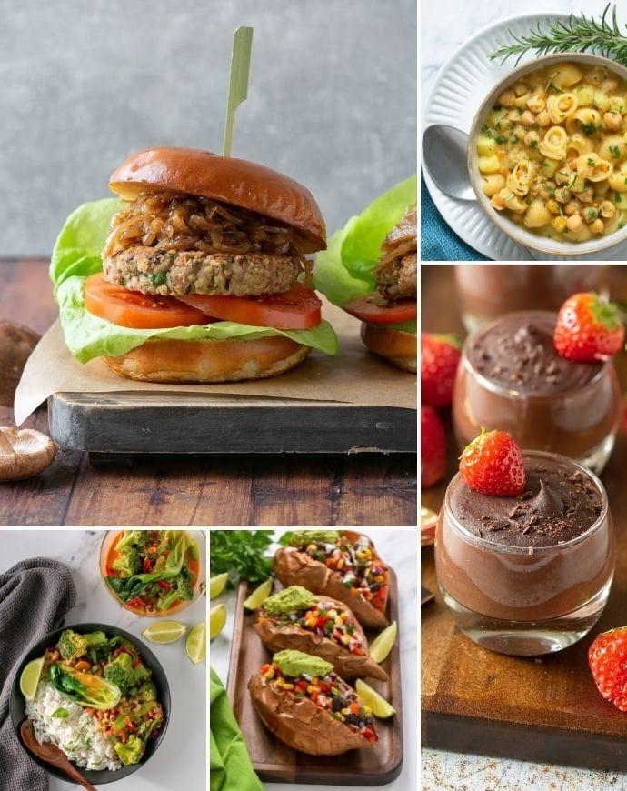 recipes images from the vegan bean cookbook: mushroom bean burger, pasta e ceci, chocolate pudding, stuffed sweet potatoes, thai red curry.