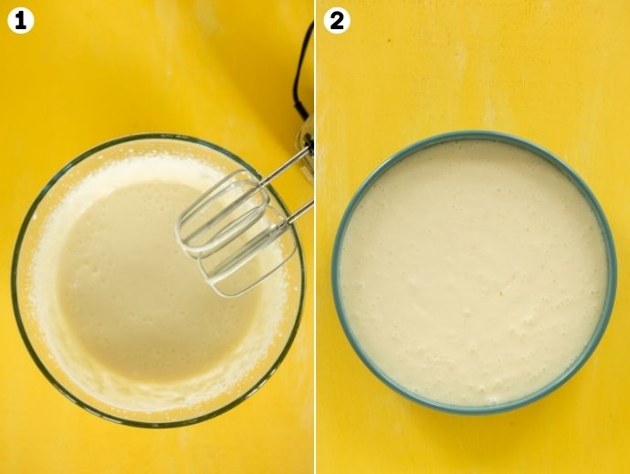 ricotta cheesecake recipe step-by-step collage: first image shows cake batter mixed with hand mixer, second image shows the batter poured into the cake pan.
