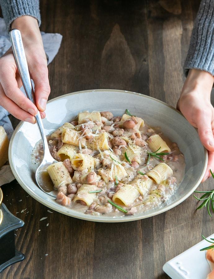 pasta e fagioli soup in a plate.
